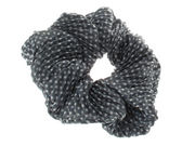 Grey Crinkle Dot Scrunchie