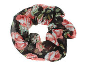 Black/Red Flower Scrunchie