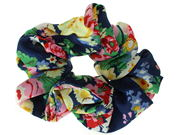 Navy Blue Floral Print Scrunchie Hair Bobble