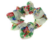 White Floral Print Scrunchie Hair Bobble