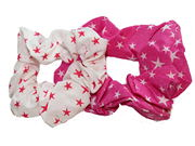 White/Pink Star Print Scrunchie Hair Bobbles