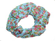 Blue Ditsy Rose Print Scrunchie Hair Bobble