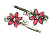 Antique Daisy Crystal Hair Slides - Pink