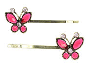 Antique Butterfly Crystal Hair Slides - Pink