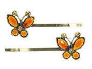 Antique Butterfly Crystal Hair Slides - Amber