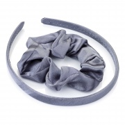 Girls Grey Satin Scrunchie and Headband Hair Set