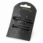 Black Rectangle Clip In End Barrettes