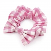 Girls Pink Gingham Check Bow School Hair Scrunchie Bobble
