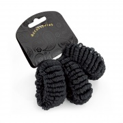 Black Elasticated Ponio Hair Donut Scrunchie Endless Hair Bobbles