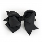 Large Black hair bow clip