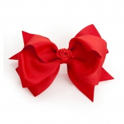Large red hair bow clip