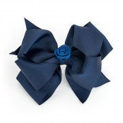 Large Navy Blue hair bow clip