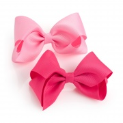 Two piece pink hair bow on clip set