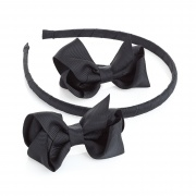 2 Black Ribbon Bows  and Headband Set
