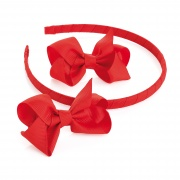 2 Red Ribbon Bows  and Headband Set