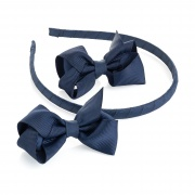 2 Navy Blue Ribbon Bows  and Headband Set