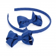 2 Royal Blue Ribbon Bows  and Headband Set