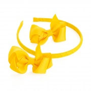 2 Yellow Ribbon Bows  and Headband Set