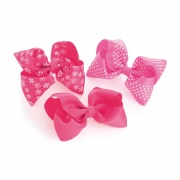 Pink Toned Printed Bow Hair Clips