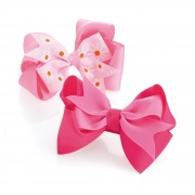 Two piece pink flower hair bow on clip set