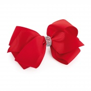 Large red hair bow crystal clip