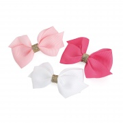 Pink Toned Glitter Bow Hair Clips