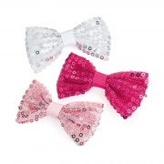3 Pink Sequin Bow Hair Clip Set