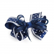 Polka Dot Navy Blue hair bow on clip