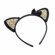 Gold Glitter Cat Ears Hair Band Headband