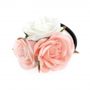 Pink Cream Triple Flower Hairband Bobble