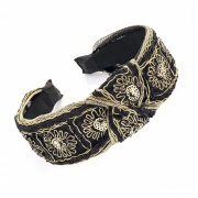 Wide Gold Knot Flower Headband Hair Band