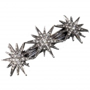 Antique Silver Star Hair Barrette Clip