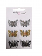 Black Silver Gold Glitter Small Butterfly Claw Clips