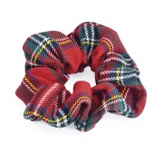 Red Tartan Hair Scrunchie Elastic Bobble