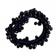 Navy Blue Faceted Glass Bead Scrunchie Hair Bobble
