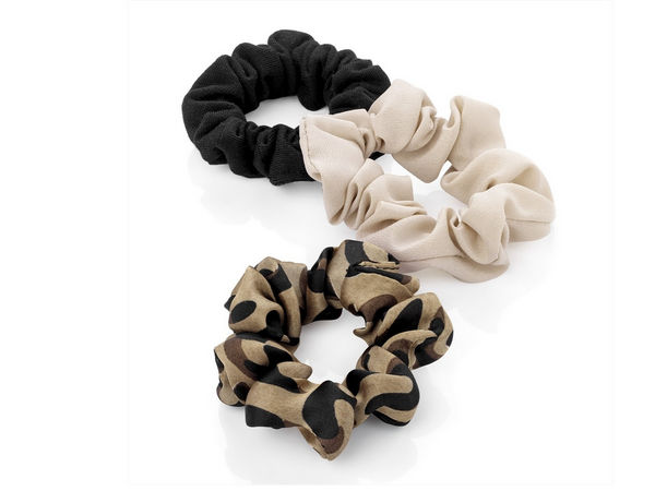 black velvet effect and gold tone hair scrunchie set Three piece animal print