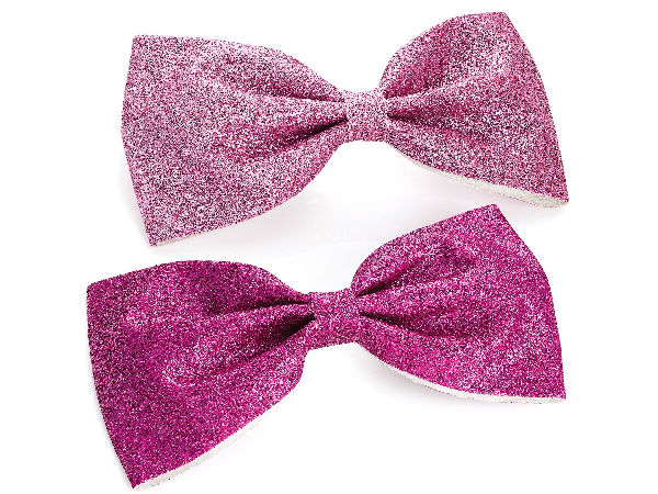 Two Piece Pink And Fuchsia Colour Glitter Hair Bow On Clip Set