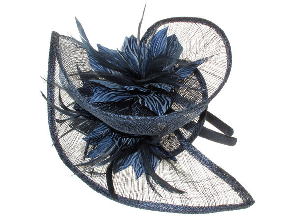 Navy Blue Beth Morgan Feather Striped Fascinator - Buy 1 Get 1 Free bf2e061197f
