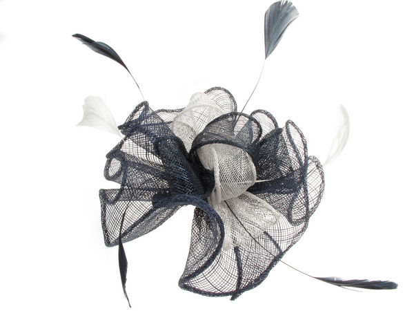 Navy Silver Grey Looped Fascinator - Buy 1 Get 1 Free d1b23c27616