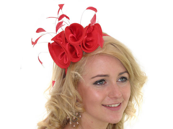 Red Satin Ruffle Fascinator Band - Buy 1 Get 1 Free 1be078e48e6