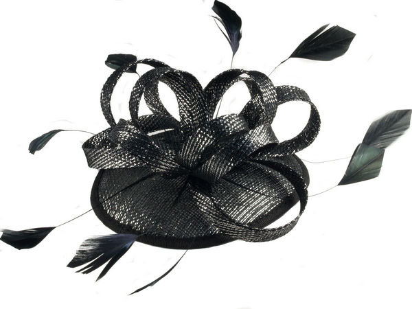 Black Silver Looped Sinamay Fascinator - Buy 1 Get 1 Free 32ad0c08934