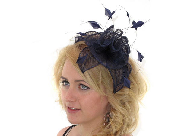 Navy Blue Ruffle Fascinator - Buy 1 Get 1 Free f4917c6884e